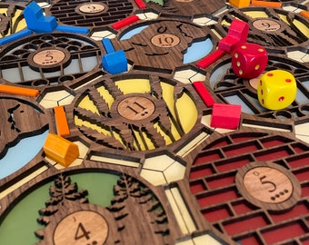 Base Trading & Settling Game Board | 2 to 4 Players | Free Personalized Desert Engraving