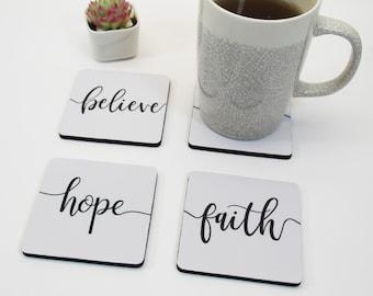 Cherish Coaster set Faith Hope Faith Hope Love Cherish Neoprene Coaster Set Love