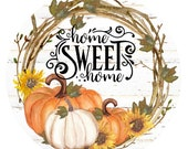 Home sweet home wreath sign, wreath attachment, metal wreath sign, fall wreath sign