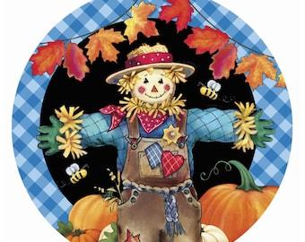 One Super cute Scarecrows scare crow harvest autumn pumpkin  fence 100/%  cotton quilting fabric. pre-cut FAT Quarter 1