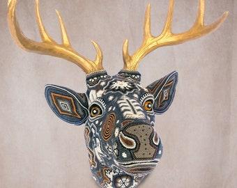 """Huichol Art """"Magic Deer"""""""