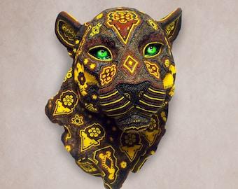 """Huichol Art """"Yellow Jaguar"""""""