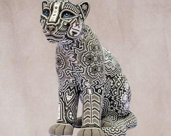 "Huichol Art ""Seated Jaguar"""
