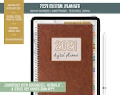 2021 Digital Budget Monthly Planner for iPad - Goodnotes, Notability, PDF Annotation | Year Overview, Journal, To Do List | Leather