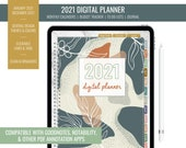 2021 Digital Budget Monthly Planner for iPad - Goodnotes, Notability, PDF Annotation | Year Overview, Journal, To Do List | Abstract Leaves