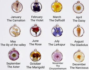 Birth Flower Necklace, Birth Month Flower Necklace, Real Birth Flower Necklace, Birth Month Necklace, Pressed Flower Necklace, Birthday Gift