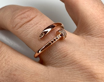 Spiral Nail Ring  14k Gold Spiral Nail Screw Minimalist Ring  Open Nail Ring  Promise Best Friends Ring  Construction Rose Gold Ring
