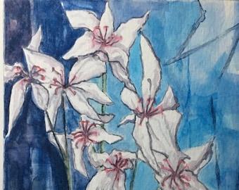 White Lillies original signed watercolour painting - 23cm x 15cm aperture on A4 300gm watercolour paper - unframed