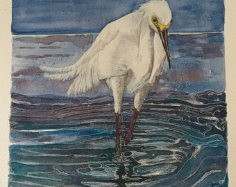 Egret in the shallows - signed original painting - A3 on 300gm watercolour paper - unframed - aperture 36cm x 24cm