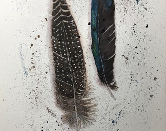 Guinea fowl & Magpie feathers - original signed watercolour and ink on A4 300gm watercolour paper - feathers - birds - watercolour painting