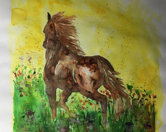 Horse in field of wildflowers - original watercolour painting - handmade - 30cm x 26cm on A3 cartridge paper - unframed