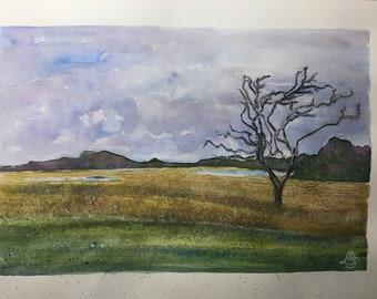 Landscape - original signed watercolour painting - Snape - Suffolk - 23.5m x 33.5cm on A3 300gm watercolour paper - unframed