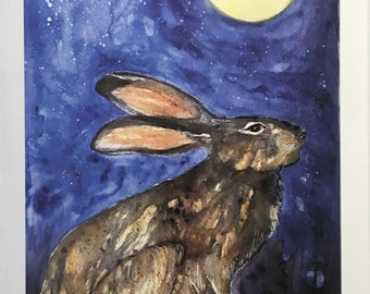 Hare and the moon - Printed greeting card from original watercolour on watercolour style matt textured paper - 105mm x 150mm
