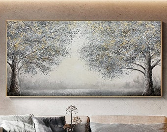 Large Original  Blooming Tree Painting On Canvas, Contemporary Tree Art, Golden Tree Paintings, Extra Large Wall Art, Living Room Painting