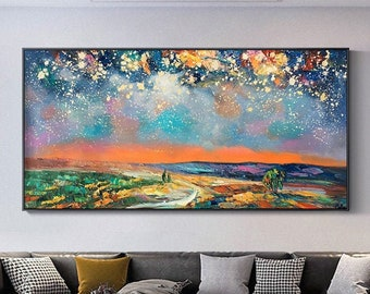 Night Starry Sky Landscape Oil Painting On Canvas Colorful Night Sky Painting Nature Painting Living Room Wall Art Spiritual Starry Painting
