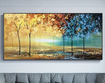 Large Hand-Painted Oil Painting On Canvas, Colorful Forest Painting, Golden River,Original Abstract  Acrylic Painting,Living Room Painting
