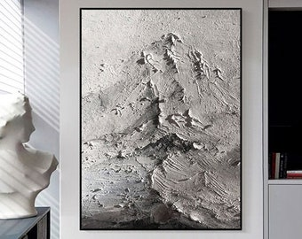 3D Gray Textured Mountains Painting Gray Textured Wall Art Gray Abstract Living Room Wall Decor Calming Painting Fine Art Fancy Painting