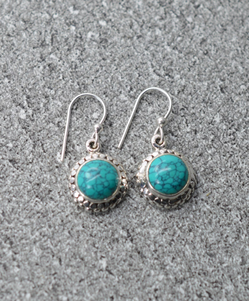 Blue Turquoise 925 Sterling Silver Gemstone Jewellery Hook Earring