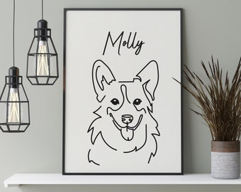 Corgi Sketch. Above Sofa Art Minimalist Line Wall Art Corgi Poster Above Bed Simple Artwork Corgi Lover Gift Dog Line Drawing Print