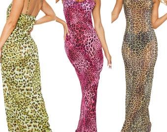 Leopard Print Women Strappy Mesh Sheer See Through Maxi Dress