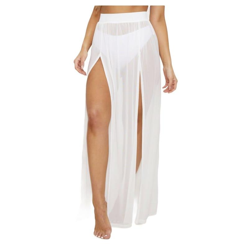 Women Beachwear Sheer Mesh Fishnet Split Front Maxi Skirt - High Waist -Beach, Club & Party Wear