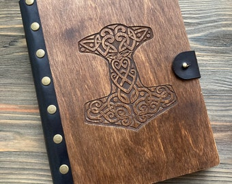 Thor's hammer, Viking notebook, Wooden sketchbook, Personalized diary, Laser notebook, Gift for friend, Viking journal