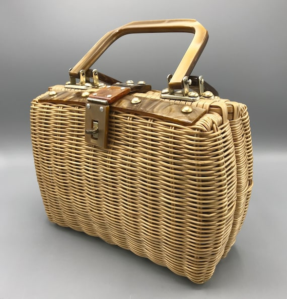 1950's Vintage Woven Wicker Basket Purse with Luci