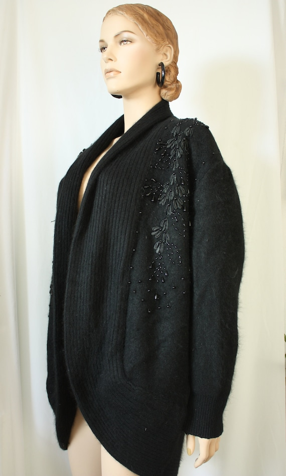 80s  oversized  chunky cardigan, beaded lined ango