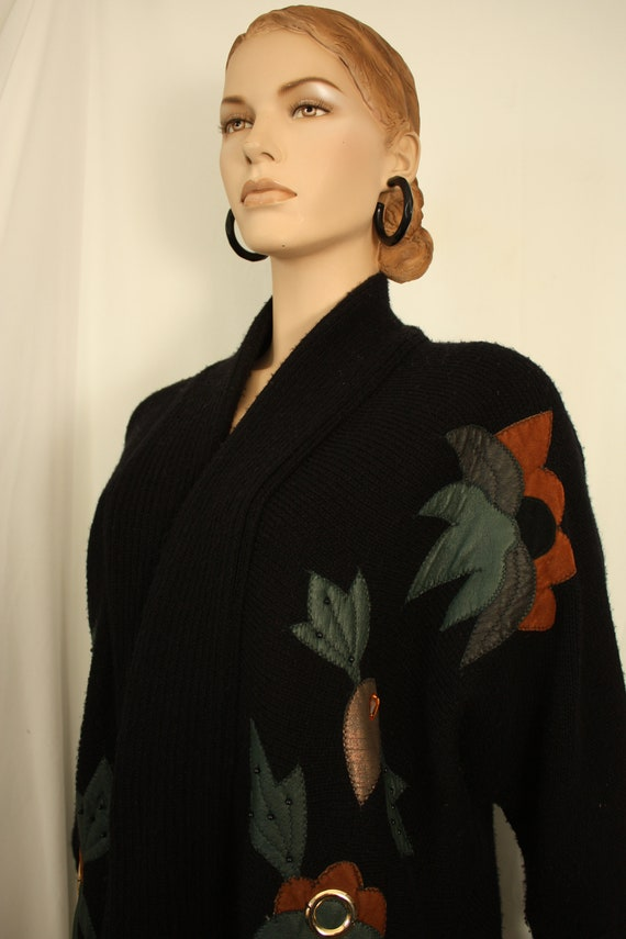 80s oversized  chunky batwing cardigan. leather be