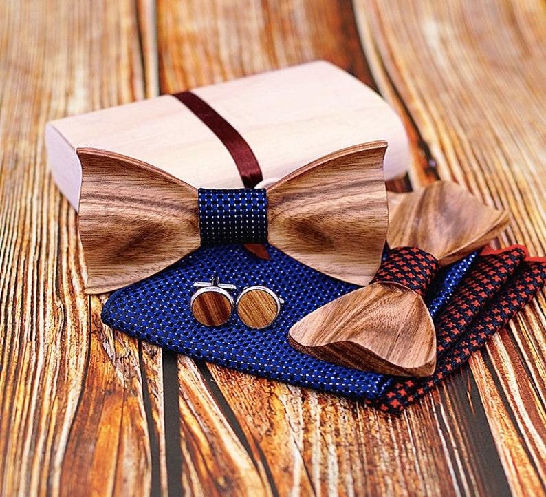 Wooden flying setZebra bow tie in elegant wooden box image 0