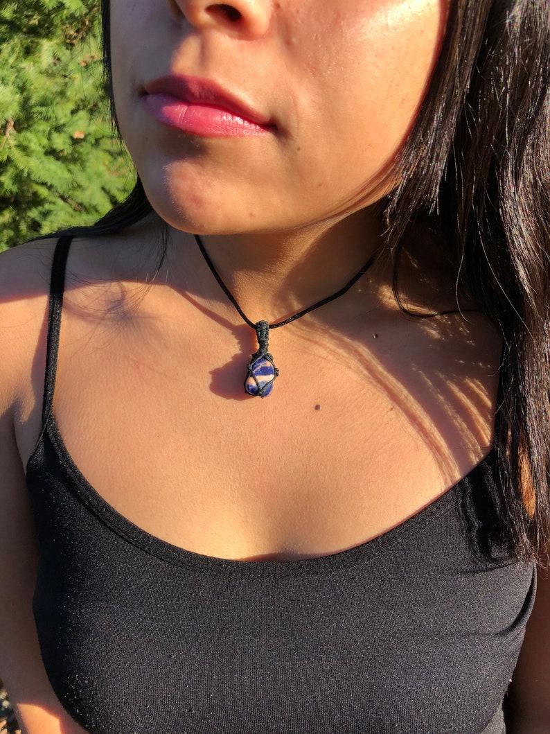 Adjustable Sunset Sodalite Necklace with Slider