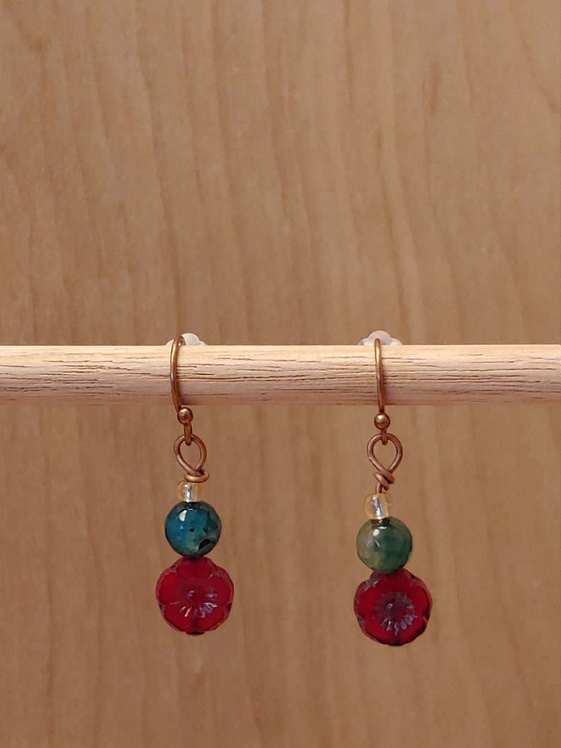 Czech Red Hibiscus Agate and Copper Earrings