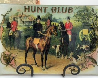 Decoupage Plate Hunt Scene/Equestrian Plate/Foxhunting Couple and Hounds
