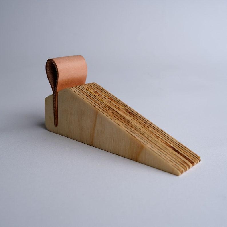 Wood  Leather Door Stop image 0