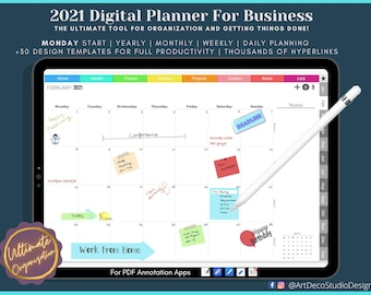 Digital Planner for Business (Mon Start, 2021), Ultimate All-In-One GoodNotes Planner, ipad planner, daily digital planner, dated planner