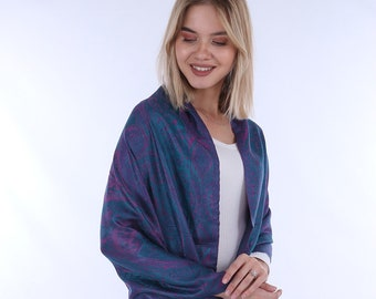 Pure silk shawl, Long silk scarf, Large silk scarf, Hand loomed scarf,