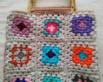 Handmade Crochet Granny Squares Crochet Bag