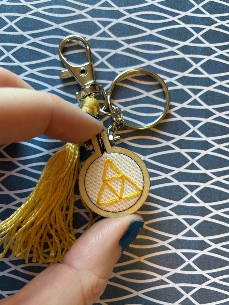 Legend of Zelda Triforce Mini Embroidery Hoop Keychain Bag Charm