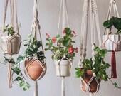5-Pack Premium Macrame Plant Hangers Large, Macrame plant hangers Hanging wall planters indoor outdoor Vintage boho decorative pot holders