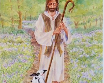 Little Lamb Gabe Prints, Good Shepherd Print, Watercolor Print, Art Print, Children's Book Illustration, Christian Art, Gift for Children