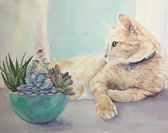 Original watercolor pet portrait, Custom pet painting from photo, Gift for pet owner, Pet memorial