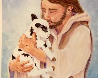 Good Shepherd Print, original watercolor art print, Little Lamb Gabe Print, Christian art for children