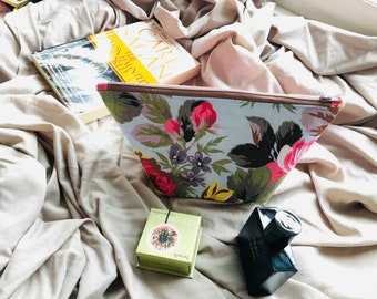cotton Mini tote bag or gift bag Floral print short handles Garden themed Herbs