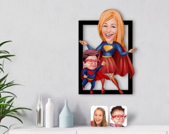 Personalized Cartoon Wooden Wall Art Custom Design Wall Picture