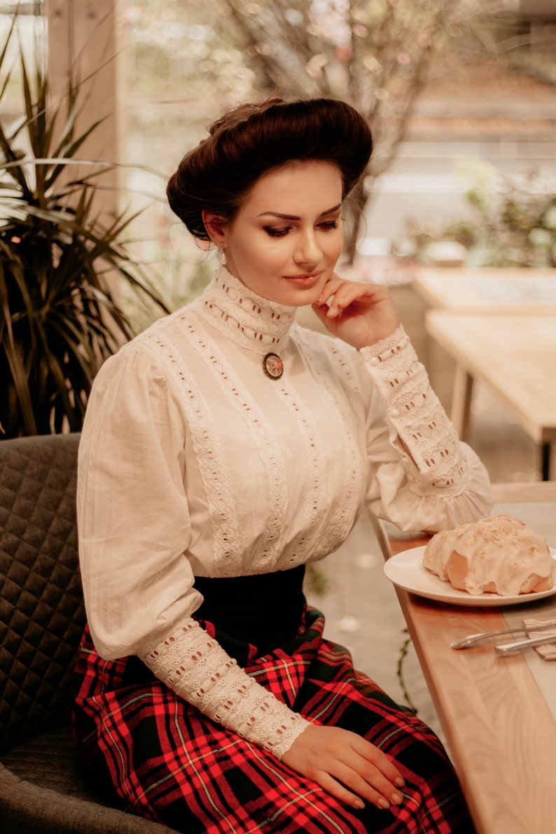 Edwardian Blouses |  Lace Blouses, Sweaters, Vests     Blouse in edwardian victorian style $105.00 AT vintagedancer.com