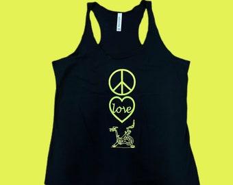 Peace Love Bike tank workout tank Indoor cycling tank pelo tank top pelo rider gift