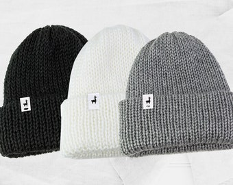 Black Knitted Beanies, Handmade Unisex Knitted Black Gray White Slouchy Beanie, Fisherman Style, Winter Hat