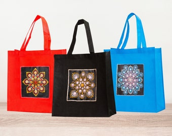 Hand Painted Reusable Bag made from recycled plastics. Tote Bag, Grocery Bag, Market Bag