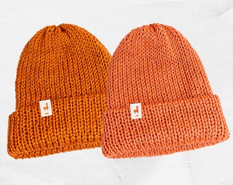Orange Knitted Beanies, Handmade Unisex Knitted Slouchy Beanie, Winter Essential & Fashion Gifts