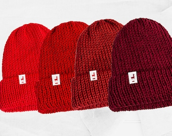 Red Knitted Beanies, Handmade Unisex Knitted Slouchy Beanie, Winter Essential & Fashion Gifts